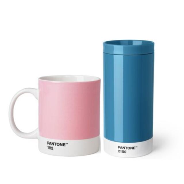 PANTONE(R)Living テイクアウトタンブラー(ブルー 無地 シンプル)・マグカップ (ピンク 無地 シンプル)2点セット