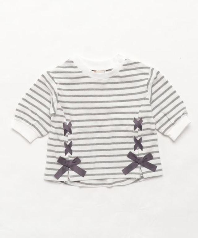 編み上げボーダー7分袖Tシャツ