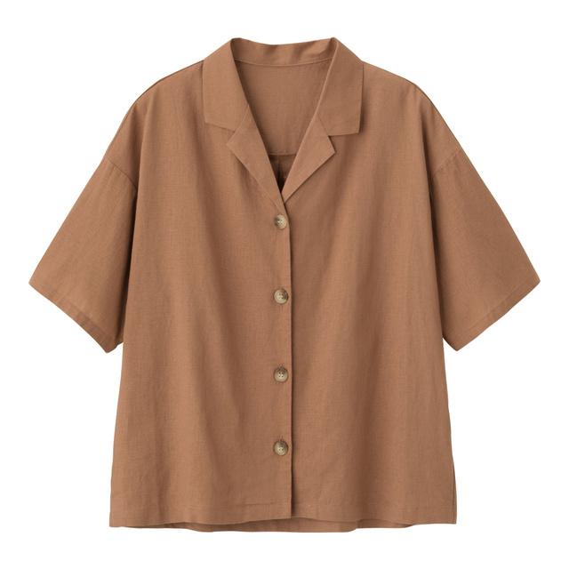 リネンブレンドオープンカラーシャツ(半袖)