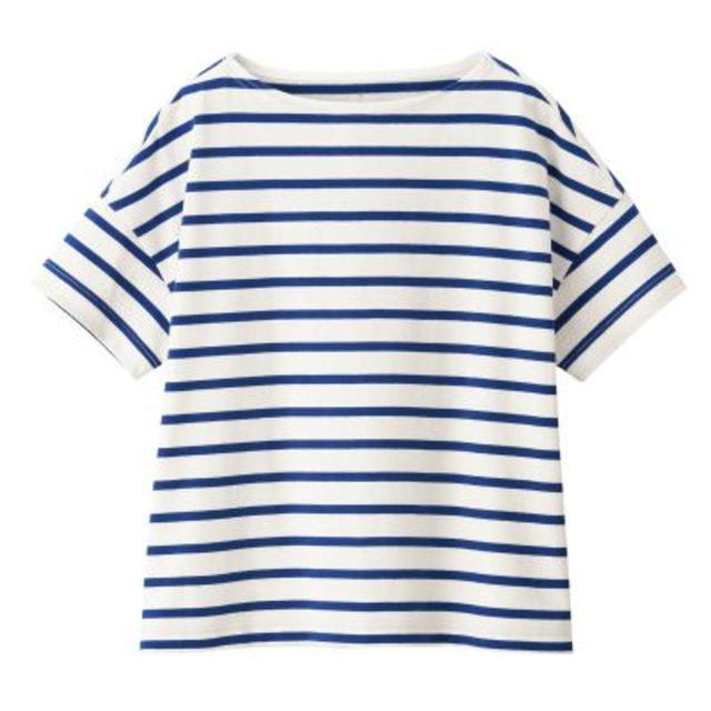 太番手天竺編みボートネックワイドTシャツ(半袖) 婦人M~L・白×ブルー
