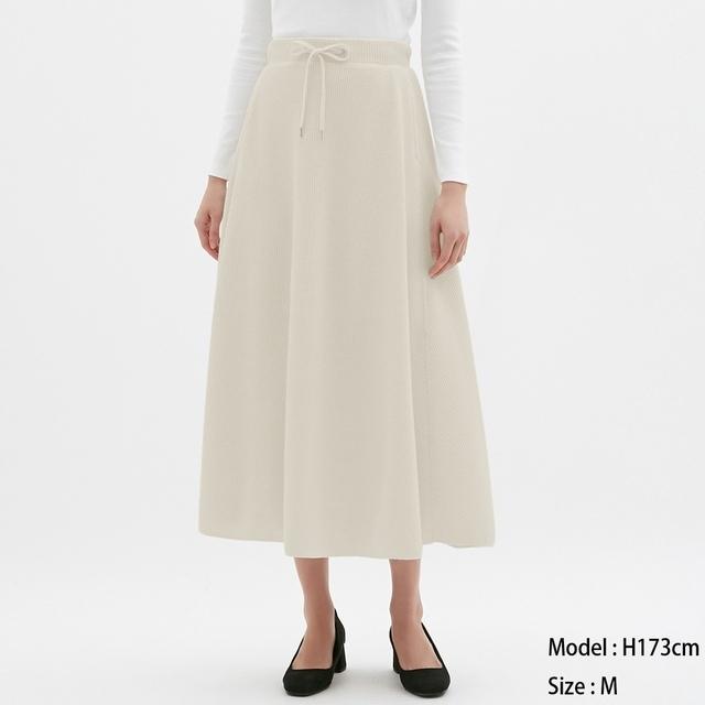 ワッフルフレアロングスカート