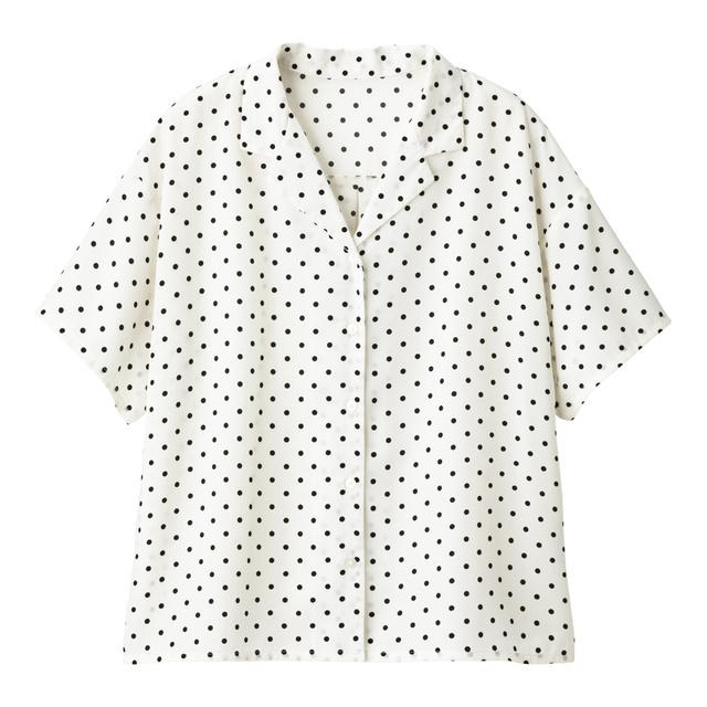 ドットオープンカラーシャツ