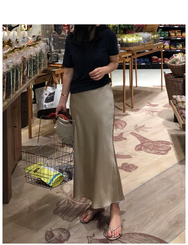 大人光沢ロングスカート