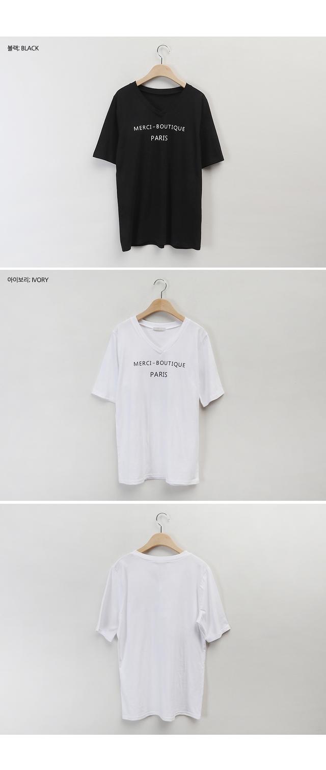 VネックレタリングTシャツ