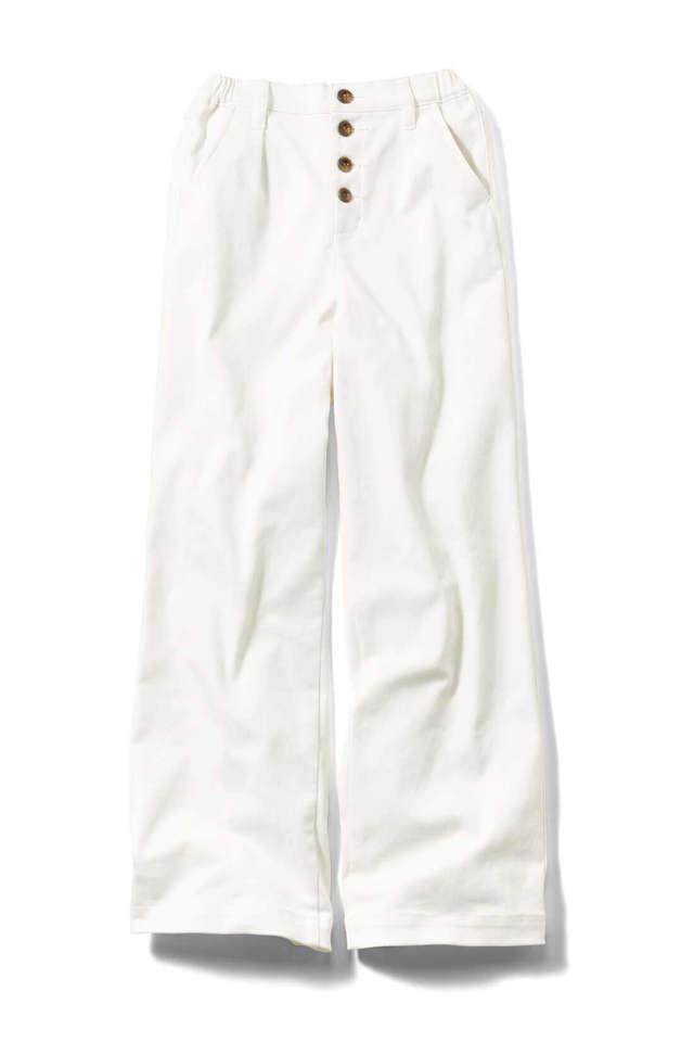 防汚加工で気兼ねなくはける ざっくりホワイトワイドパンツ