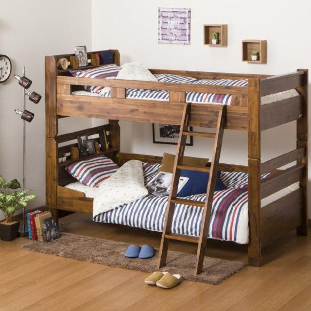 アカシア材を贅沢に使用したヴィンテージ風2段ベッド(DBR)