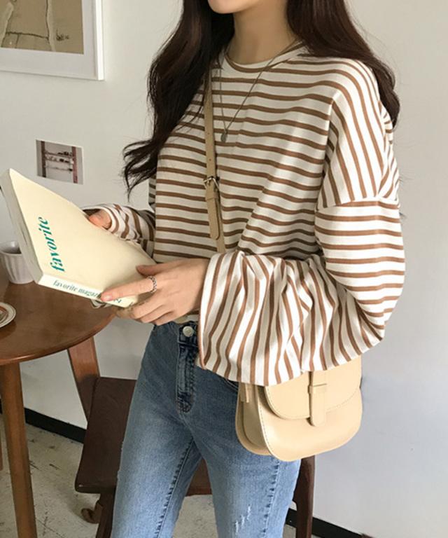 MICHYEORA  ワイド袖ボーダーTシャツ