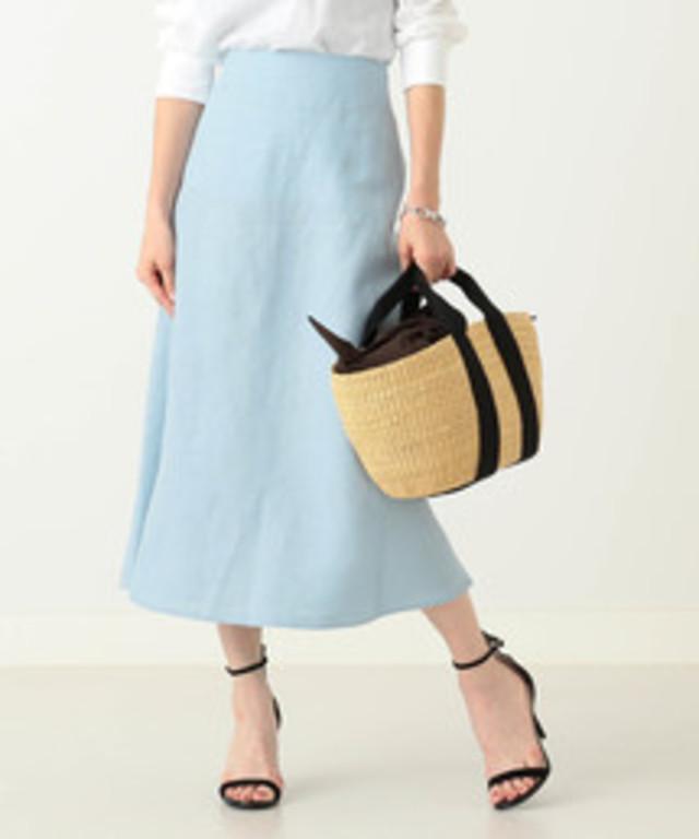Demi-Luxe BEAMS / リネン フィット&フレアスカート