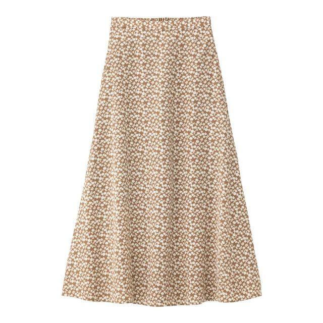 フラワープリントフレアロングスカート