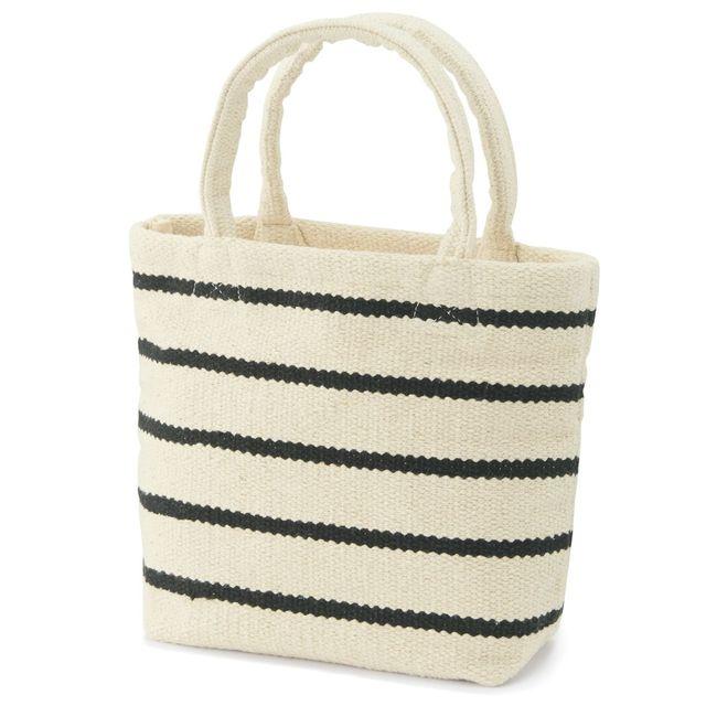 インドの手織りミニトートバッグ(ボーダー)