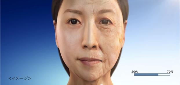 左側が通常の肌、右側が紫外線を浴び続けて肌老化した場合の肌のイメージ。